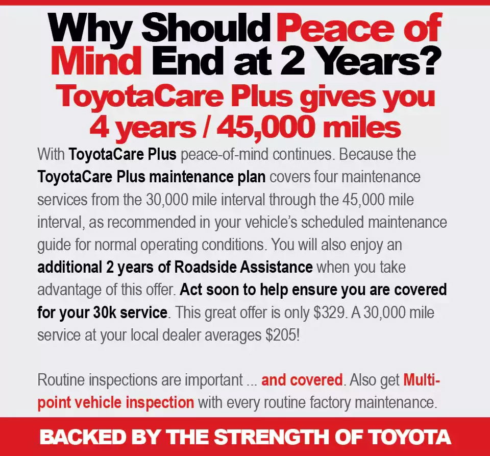 Toyotacare Roadside Assistance Number >> ToyotaCare Plus Maintenance Plan | DARCARS Toyota of Frederick