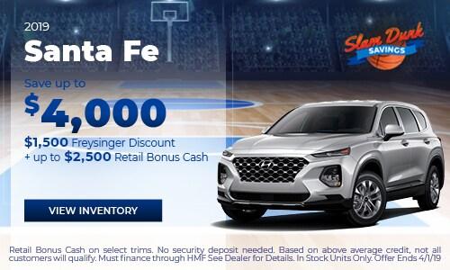 2019 Santa Fe Save up to $4,000