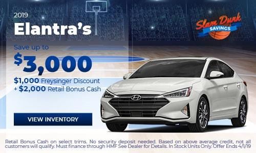 2019 Hyundai Elantra Save up to $3,000