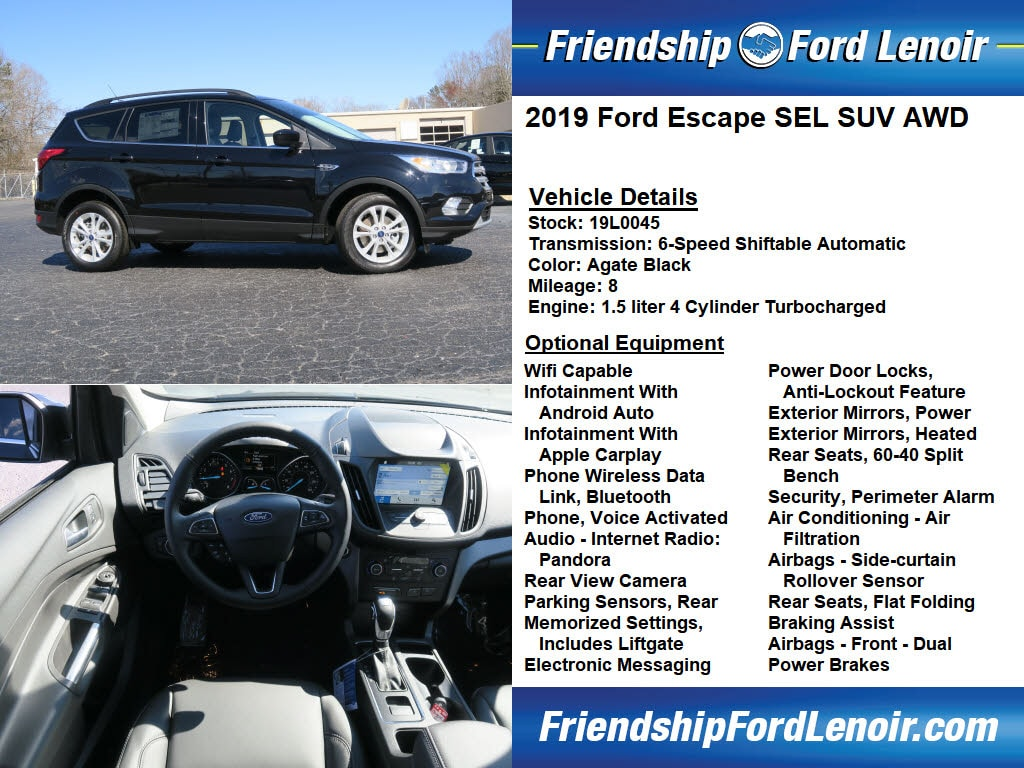 Remarkable New 2019 Ford Escape For Sale At Friendship Ford Lenoir Creativecarmelina Interior Chair Design Creativecarmelinacom