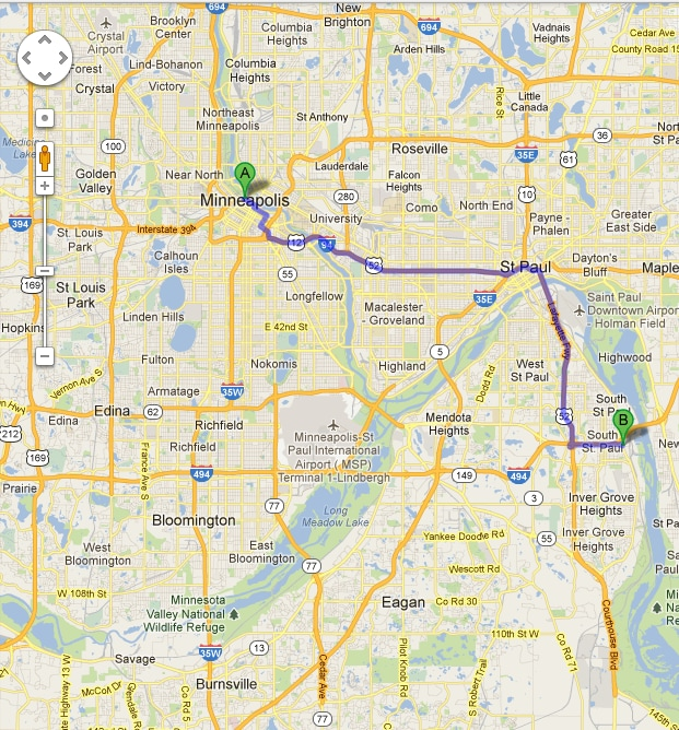 Directions to Fury Motors Chrysler Dodge Jeep Ram from Minneapolis ...