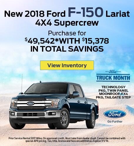 New 2018 Ford F-150 Lariat 4X4 Supercrew