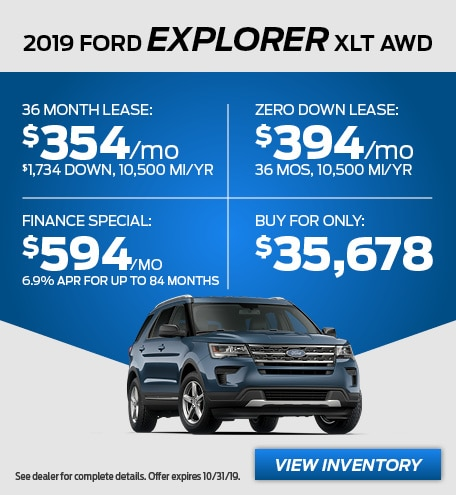 New 2019 Ford Explorer XLT Lease Special