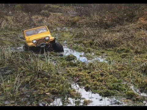 The Jeep Wrangler going through the Marsh