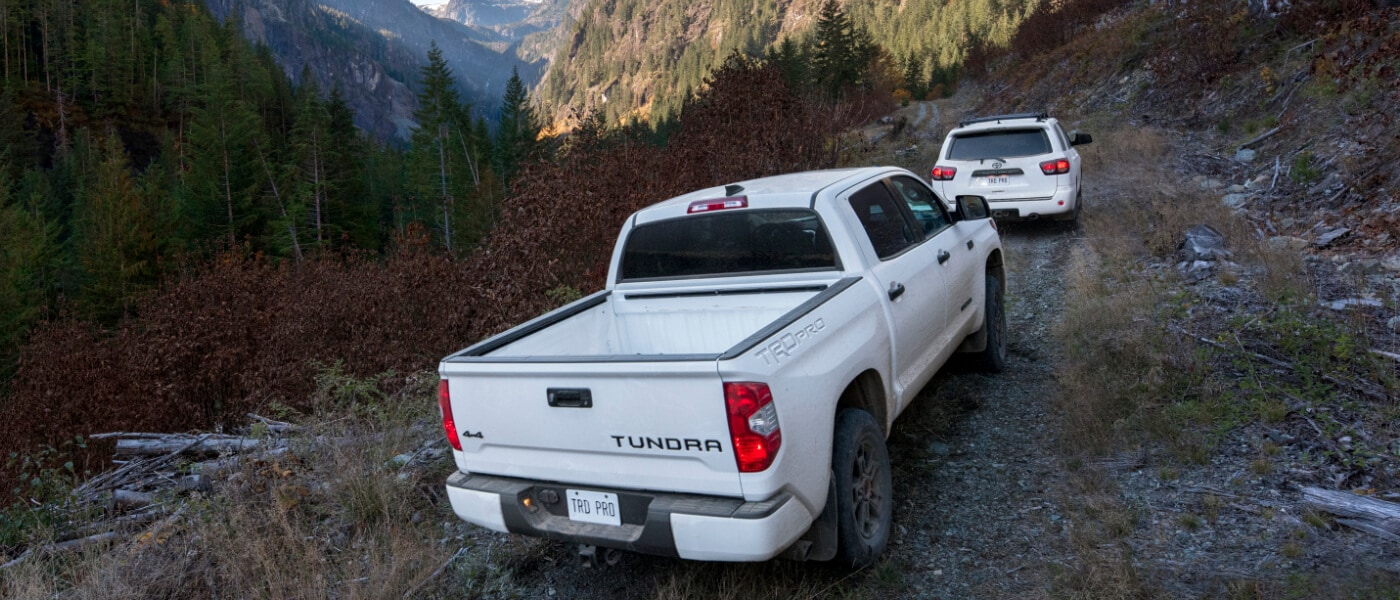 2020 White Toyota 4Runner and Tundra Driving Up a Mountain