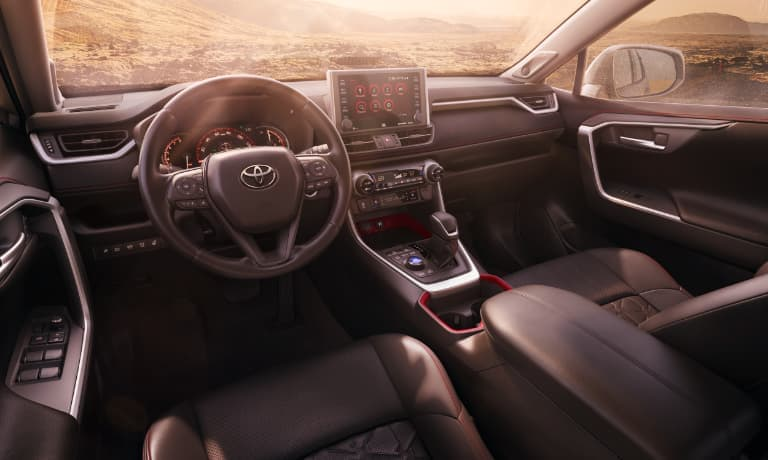 2020 Toyota RAV4 Leather Interior Dashboard at Sunset