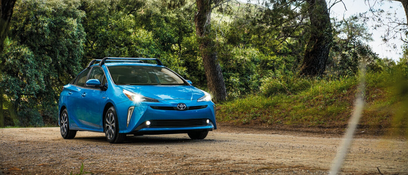 2020 Blue Toyota Prius Parked in the Forest