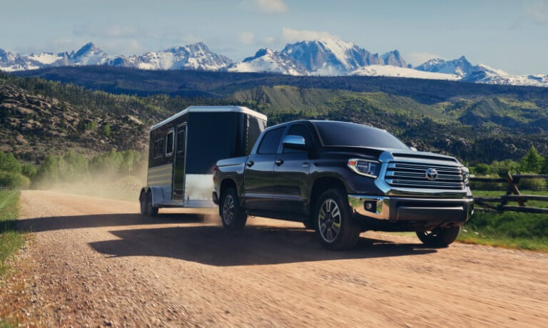2020 Black Toyota Tundra Towing a Trailer
