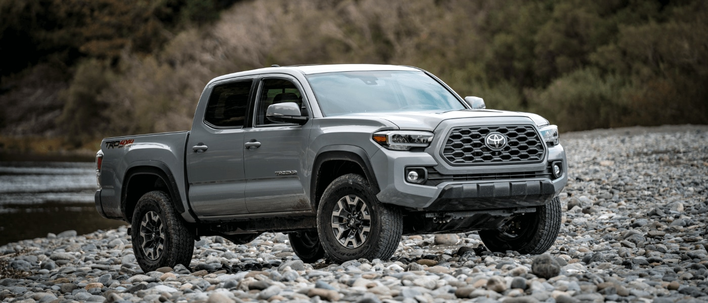 2020 Silver Toyota Tacoma Driving-Off Road on Rocks