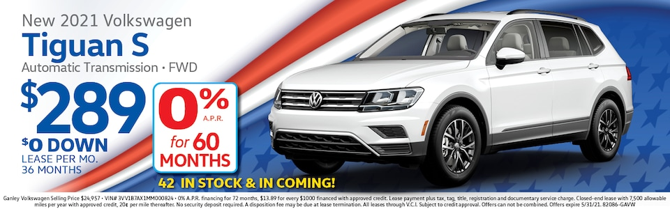 2021 Volkswagen Tiguan 0% APR for 60 Months
