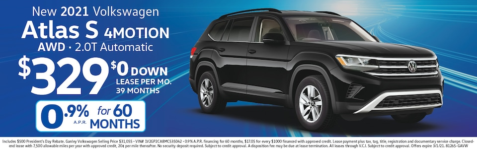 VW Atlas lease for $329 mo,/$0 down