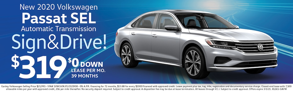 VW Passat Lease ONLY $319 mo./$0 Down