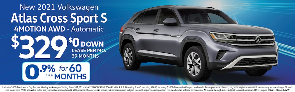 VW Atlas Cross Sport for $329 mo./$0 down