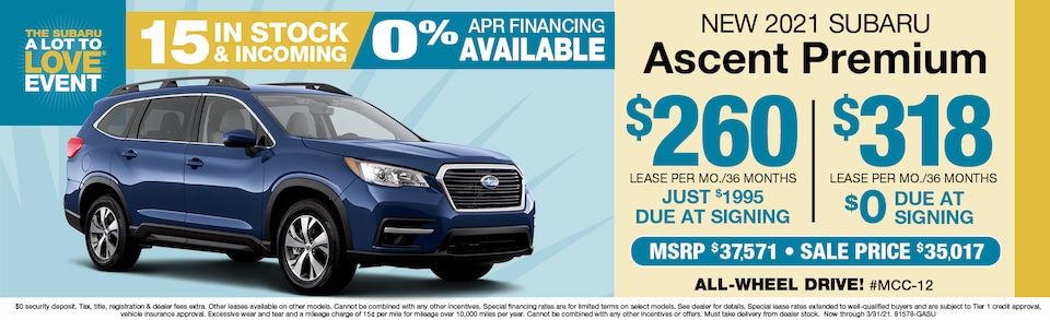2021 Subaru Ascent Premium Leasing From $255 a month