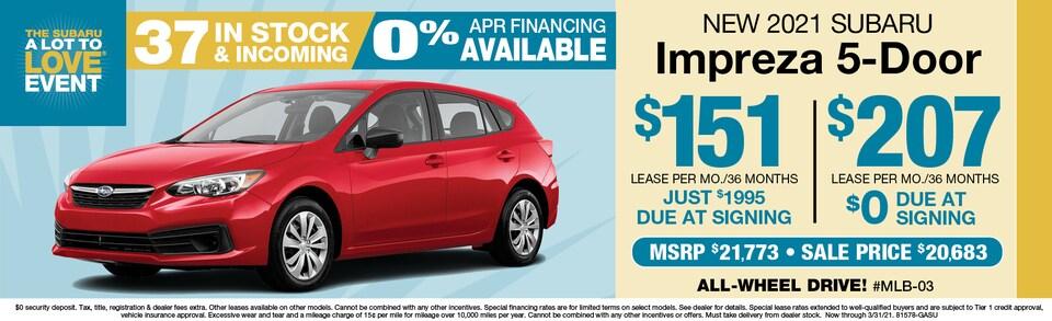 2021 Impreza Hatchback Lease $207 mo./$0 Due at signing