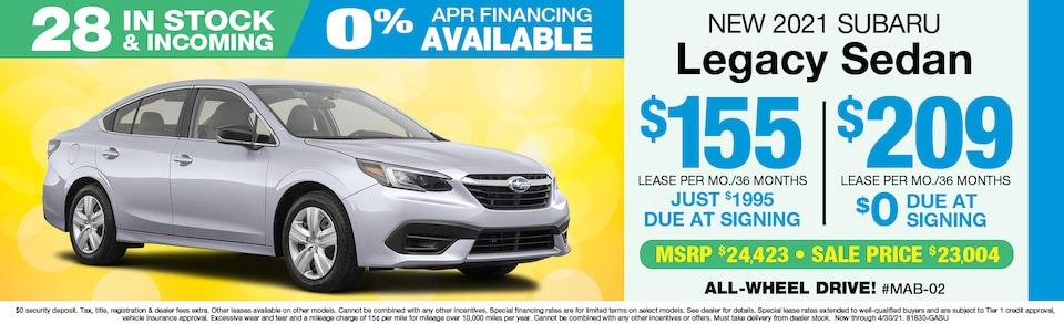 2021 Subaru Legacy LEASE $209 mo./$0 Down