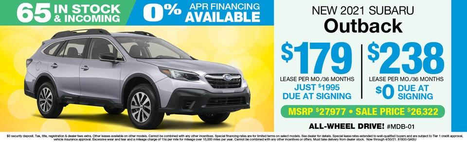 2021 Subaru Outback LEASE $238 mo./$0 Down