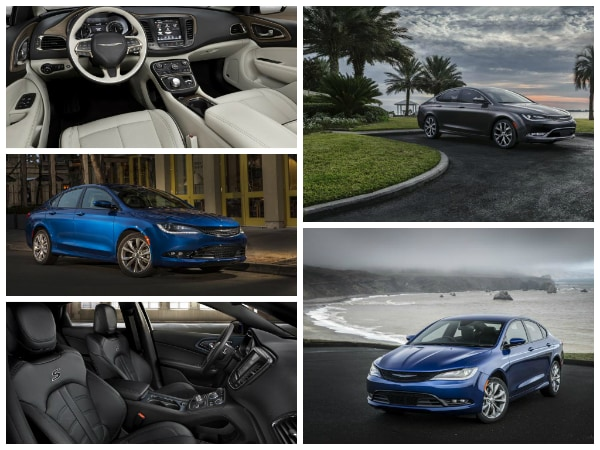 Collage of the 2015 Chrysler 200 exterior  and interior