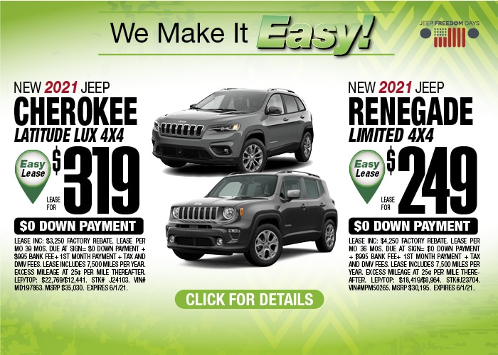Jeep Renegade/Cherokee Deal - May 2021
