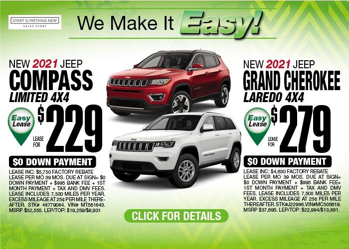 Jeep Compass & Grand Cherokee Laredo Deals - January 2021