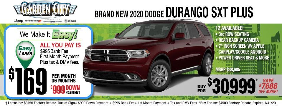 Dodge Durango SXT Jan 2020 specials page