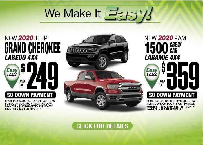 Jeep Grand Cherokee Laredo RAM 1500 Laramie Deals May 2020
