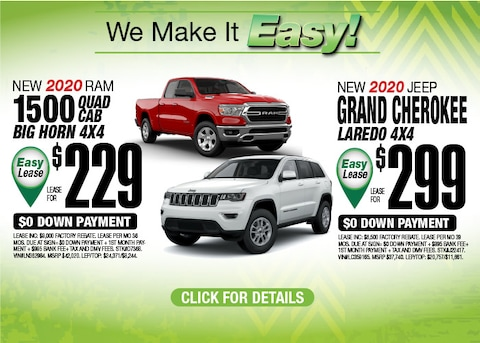 Jeep Grand Cherokee Laredo RAM 1500 Big Horn Quad Cab Deals Aug 2020