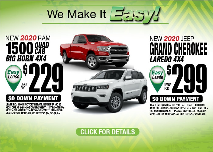 Jeep Grand Cherokee Laredo RAM 1500 Big Horn Quad Cab Deals Aug 2020