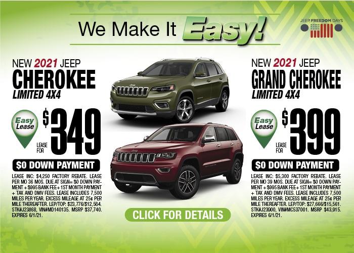 Jeep Cherokee/Grand Cherokee Deal - May 2021