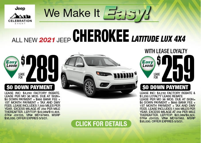 2021 Jeep Cherokee Lux April Special