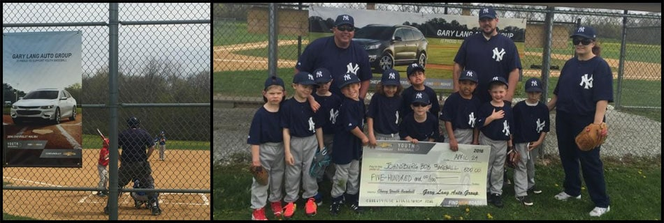 Gary Lang Chevy Sponsor Johnsburg Youth Baseball Team
