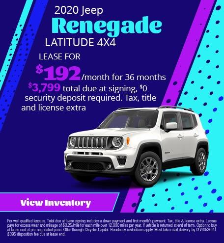 September 2020 Jeep Renegade LATITUDE 4X4