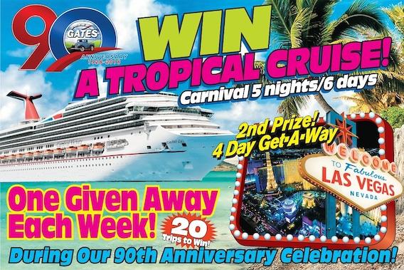 Gates 90th Anniversary - Win a FREE Luxury Cruise - Gates