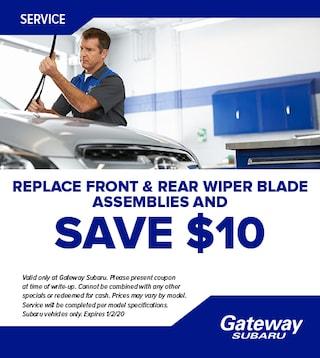 Replace front & rear wiper blade assemblies