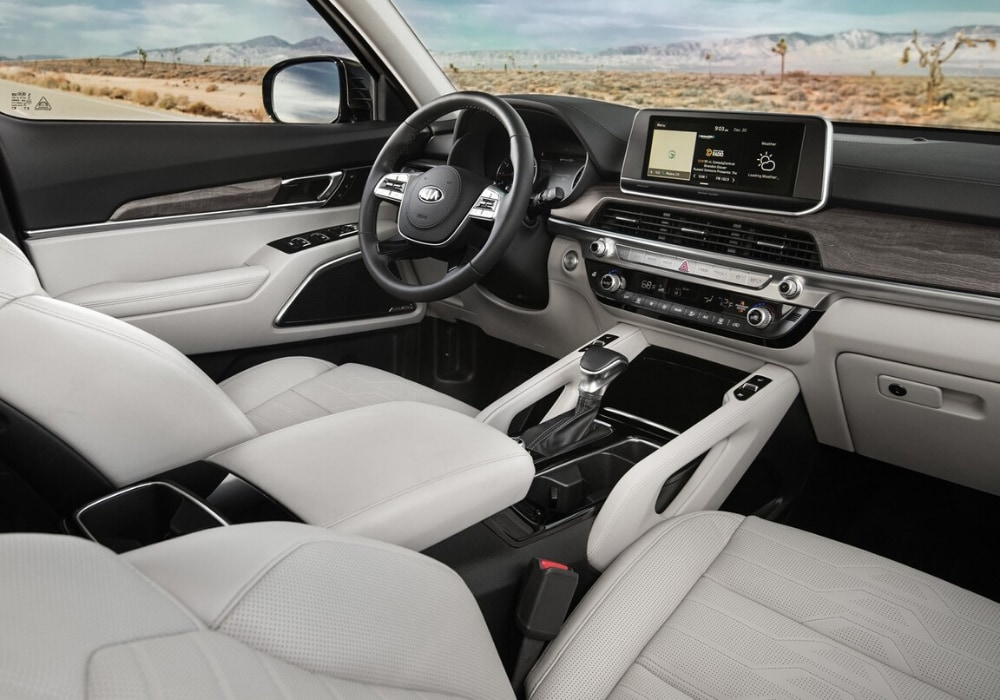 An inside look at the front interior cabin of the 2020 Kia Telluride