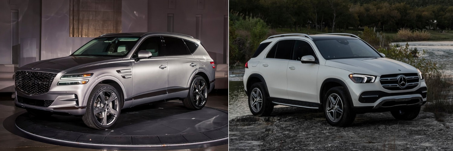 Exterior comparison of the first-ever 2021 Genesis GV80 SUV beside the 2020 Mercedes-Benz GLE 350