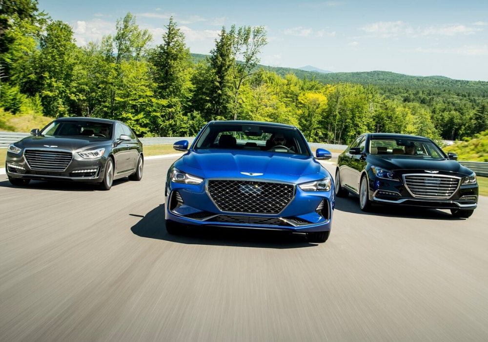 2020 Genesis G70 models 2.0T, 2.0T Sport, 3.3T driving side by side front exterior camera angle