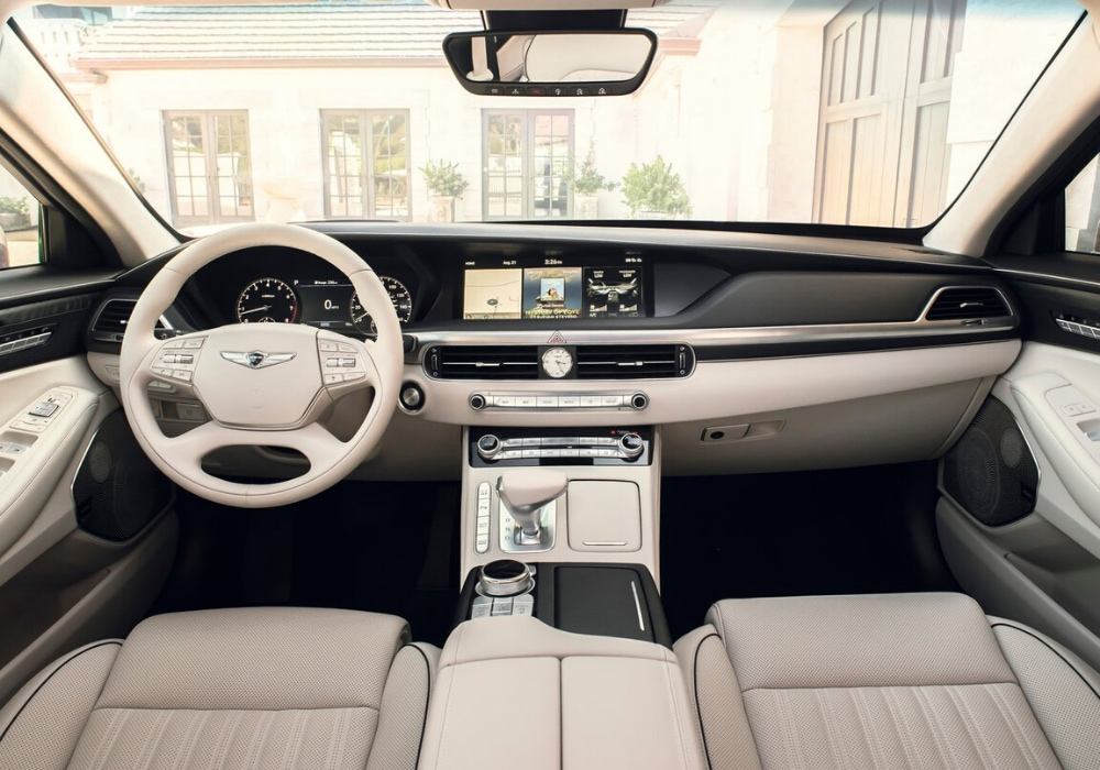 A look at the front interior design of the luxury 2020 Genesis G90 sedan