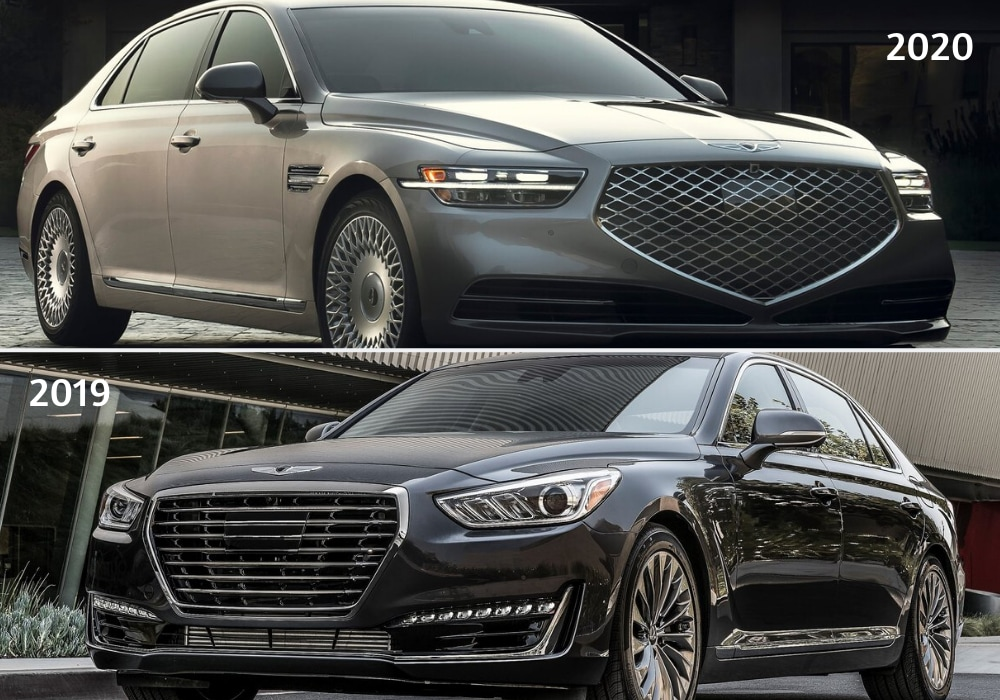 2020 Genesis G90 sedan exterior compared to the 2019 Genesis G90 sedan showing exterior design changes