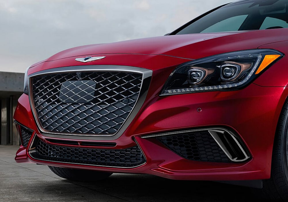 Close up view of the front fascia grille on the 2020 Genesis G80 Sport model