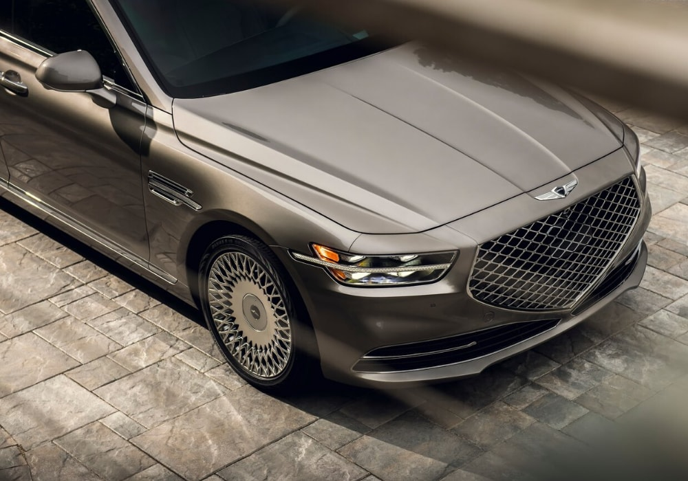 Close up view of the front exterior grille on a new 2020 Genesis G90 luxury sedan
