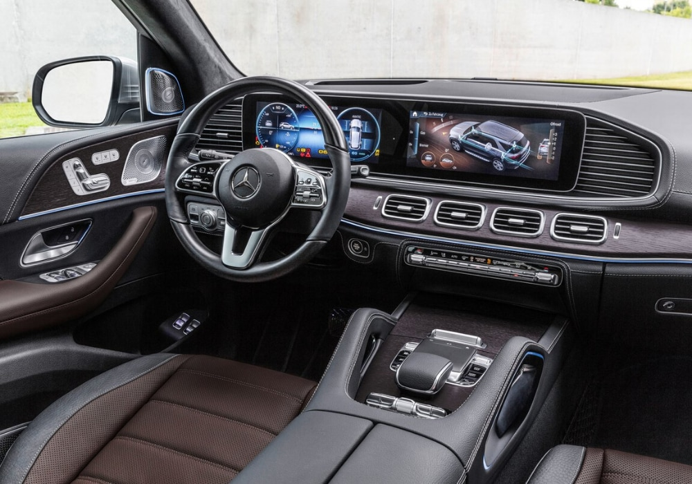 Interior front cabin inside the 2020 Mercedes GLE-Class looking at the driver seat