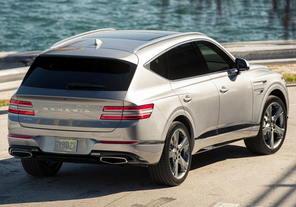 Sleek rear exterior design view on the all-new 2021 Genesis GV80 SUV