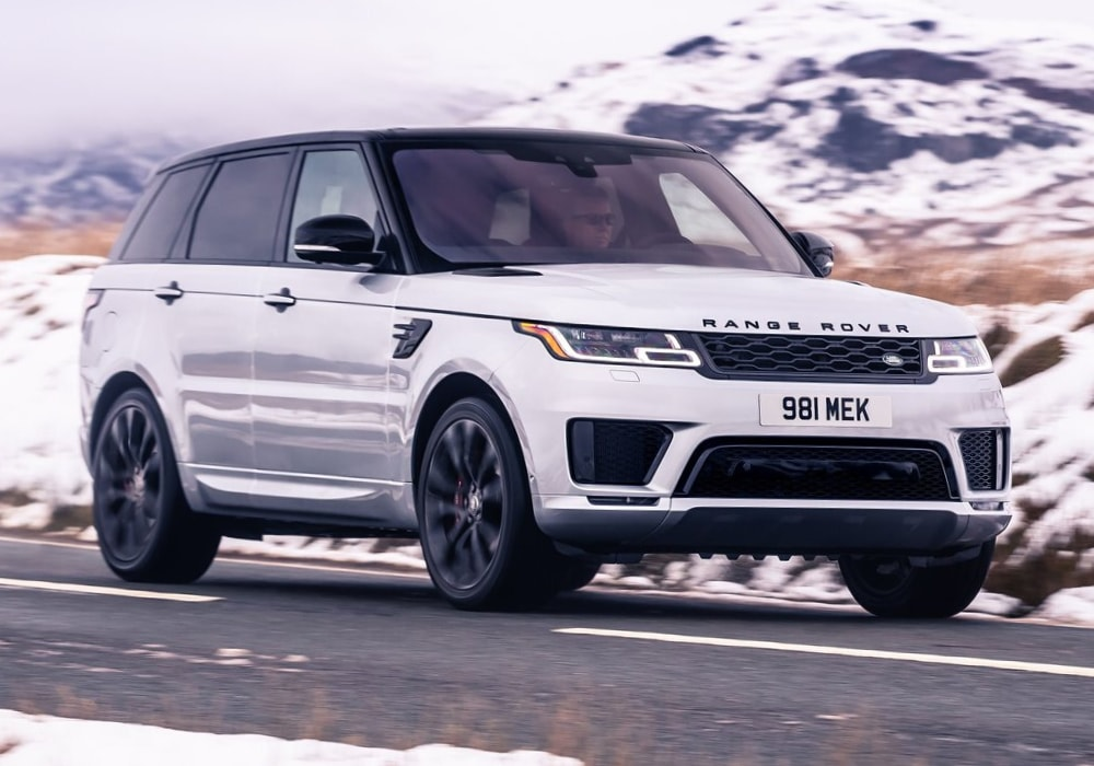 In-motion capture of the front exterior design on the 2020 Range Rover Sport