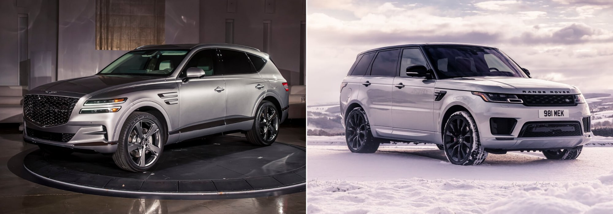 New 2021 Genesis GV80 Luxury SUV compared to the 2020 Range Rover Sport hero image
