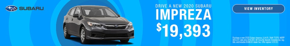 January DRIVE A NEW 2020 SUBARU IMPREZA Offer