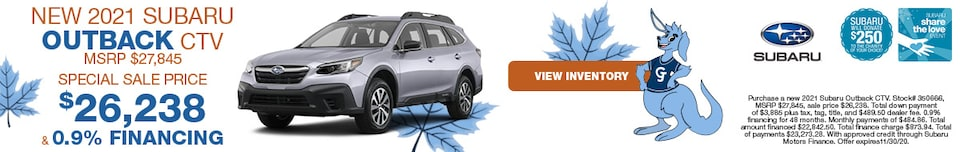 November NEW 2021 SUBARU OUTBACK CTV MSRP $27,845