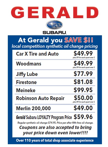 gerald subaru dare to compare oil change gerald subaru of north aurora. Black Bedroom Furniture Sets. Home Design Ideas