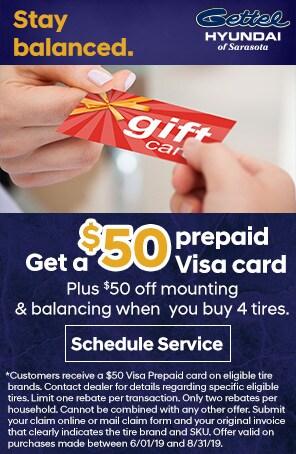 $50 Prepaid Visa Gift card Plus $50 off mounting & balancing