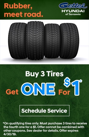 Buy 3 Tires Get One for a $1*